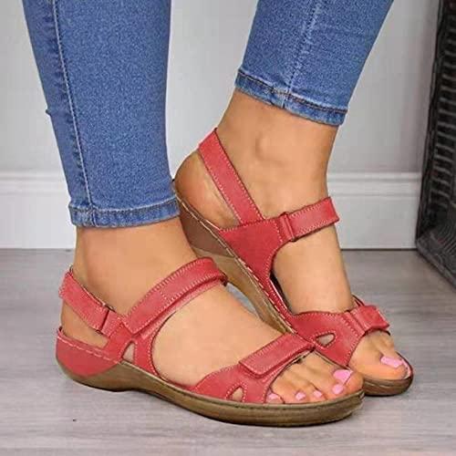 CCSSWW Interior Sandalia Suela De Espuma Suave,Sandalias de Mujer PU Magic Pegatinas-Rojo_41,Sandalias Planas elásticas de Verano para Mujer