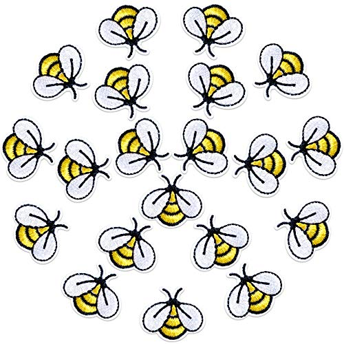 PAGOW 20 PCS Bee Embroidered Patches, Cute Bumble Iron On Embroidered Applique Decoration Sewing Patches for Bags, Jackets, Jeans, Clothes DIY Patches