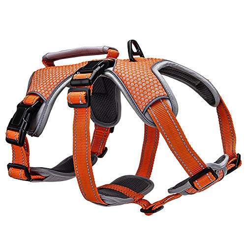 BELPRO Multi-Use Support Dog Harness, Escape Proof No Pull Reflective Adjustable Vest with Durable Handle, Dog Walking Harness for Big/Active Dogs (Orange, M)