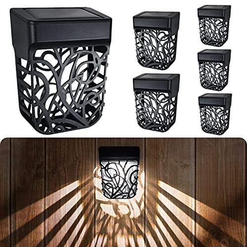 Chipark Solar Fence Lights Garden Outdoor Solar Powered Wall Light IP65 Waterproof Solar LED Wireless Lights for Yard Deck Roof Patio Stairway Gate Lighting Decoration 6 Pack(Cool White)