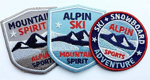 Club of Heroes 3er-Set, Stick-Abzeichen Winter Sport Alpin/Ski Snowboard Mountain Spirit/Applikation, Aufnäher, Aufbügler, Bügelbild, Patch für Kleidung, Rucksack, Tasche