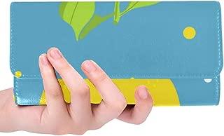 Unique Custom Decorative Nature Lemon Jn Blue Women Trifold Wallet Long Purse Credit Card Holder Case Handbag