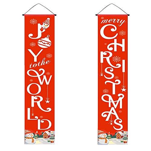 AILANDA Weihnachts Veranda Schild Joy to the World and Merry Christmas Weihnachtsbanner Dekoration für drinnen und draußen Weihnachtsdeko Weihnachtsdekoration Christmas Banner 31x180cm