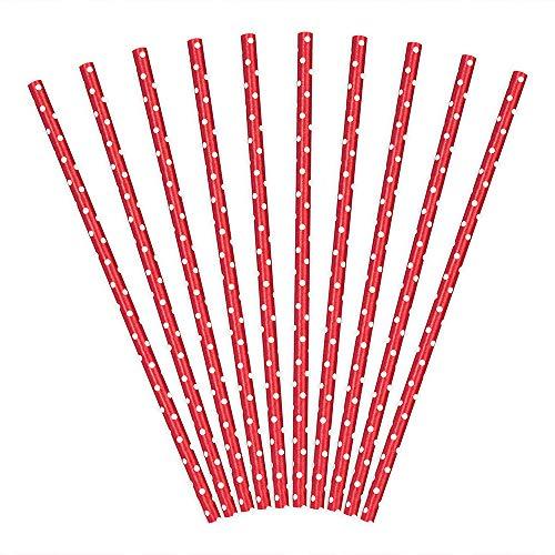 DekoHaus 10 cannucce di carta in rosso con pois bianchi, 19,5 cm