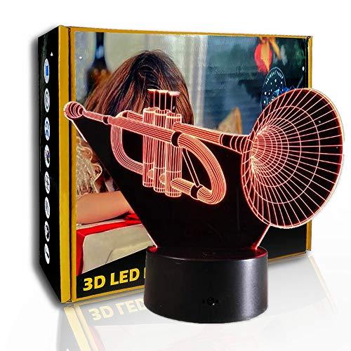 KangYD 3D-Nachtlicht-Musikinstrument Saxophon, LED-Illusionslampe, E - Alarm Clock Base (7 Farbe), Kunstnachtlampe, Moderne Lampe, Fashion Light, Liebhaber Geschenk