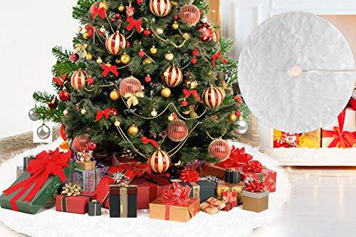 DECARETA Gonna Albero di Natale Bianca 78cm, Tappetino per Albero Natale, Copertura per Base Albero di Natale, Gonna Base Tappeto Rotondo per Festa per Albero di Natale Decorazione