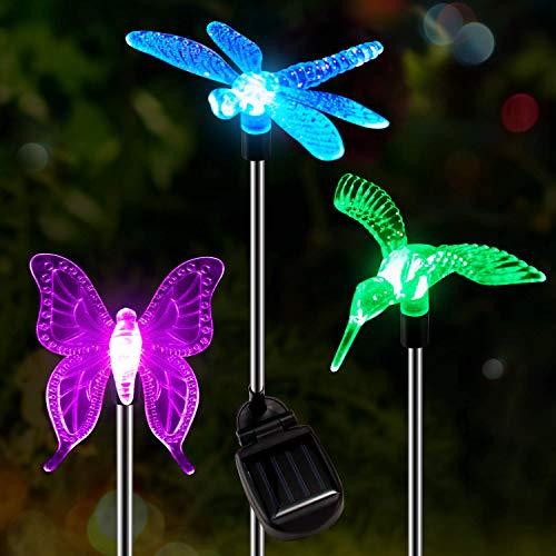 DOOK 3er Set Solarleuchten Garten Solar Stableuchten Farbwechsel LED Libelle Kolibri Schmetterling Solarlampen für Garten, Balkon und Terrasse,3pack