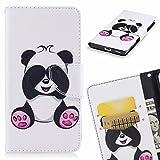 Yiizy Apple IPhone 7 Plus Cover Custodia, Panda Design Silicone Custodia Flip Cover Portafoglio PU Pelle Cuoio Copertura Case Slot Schede Cavalletto Stile Libro Bumper Protettivo Borsa