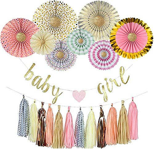 YARA Baby Shower Decorations for Girls Kit It's a Girl Pink and Gold Party Supplies Baby Girl Garland Bunting Banner Boho Baby Shower Decor Rustic and Princess Theme Paper Fans Tassels Pastel Oh Baby