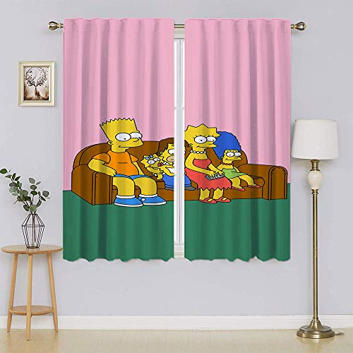 lacencn The Simpsons Movie Poster Bedroom Curtain,Heat and Full Light Blocking Drapes Keep Warm Draperies Drapes for Bedroom W55 x L72