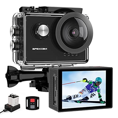 Apexcam Pro Action Cam 4K 60fps WiFi 20MP Unterwasserkamera 40M Wasserdicht 8xZoom EIS 170° Weitwinkel IPS-Panel(2.4G Fernbedienung,Externes Mikrofon,2x1350mAh Akkus und andere Zubehör)