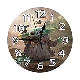 FETEAM Reloj de Pared Star-Wars The M-andalo-rian Baby Yoda Relojes de Pared Funciona con Pilas Silencioso Decoración Pared para Cocina, Salon, Oficina, Dormitorio 25cm