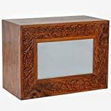 Hind Handicrafts Urnas de cremación de madera grabadas para cenizas humanas, adultos – urna de cenizas funerarias hecha a mano – urna de columbarium (250 pulgadas cúbicas, natural)