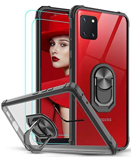 LeYi Funda Samsung Galaxy Note 10 Lite / A81 con [2-Unidades] Cristal Vidrio Templado,Transparente Carcasa con 360 Grados iman Soporte Silicona Bumper Antigolpes Armor Case para Movil A81,Clear Negro