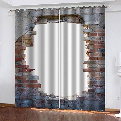 FFKJWL Cortinas habitacion Opacas 2 Piezas con Ojales 3D Pared de ladrillo Rojo Vintage Cortinas termicas aislantes Frio y Calor para Salón Dormitorio Decoración de la Ventana 132x242cm