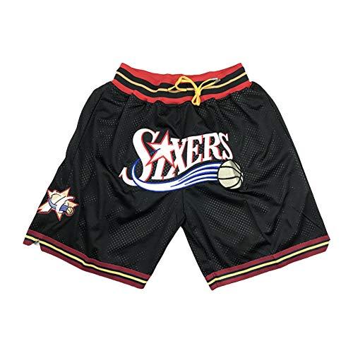 Philādelphia 76ērs Jōel Emb Youth Basketball-Shorts für Herren, modische Stickerei-Taschen-Shorts, beliebt für Fans Gr. XL, Schwarz
