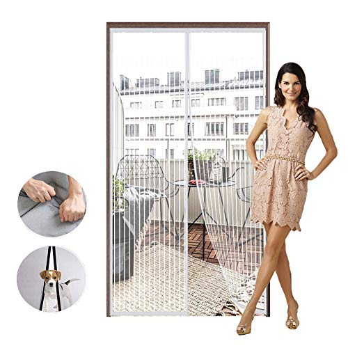 Mesh Screen Door with Heavy Duty Mesh Curtain White 45x78inch for Anti Mosquito and Pest Magnetic Soft Door Close Automatically Insect Protection Door No Gap Pet and Kid Friendly