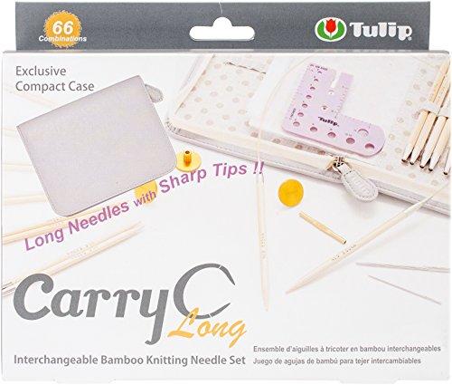 CarryC Long Interchangeable Circular Bamboo Knitting Needles