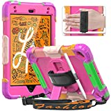Timecity Case for iPad Mini 5/ Mini 4 Case 2019/2015 with Screen Protector, 360° Rotatable Stand, Pencil Holder, Hand Strap/Shoulder Strap, Rugged Case for iPad Mini 7.9 inch - Rose Red Camouflage