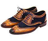 Lethato Wingtip Brogue Oxford - Navy Blue , Navy Blue , 12.5 - 13 US