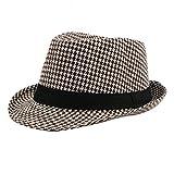 Demarkt Mode Herren Kariertes Muster Jazz Hut Fedora Trilby Hut Fischerhut Sommer Hut mit breiter Krempe (Stil 3)