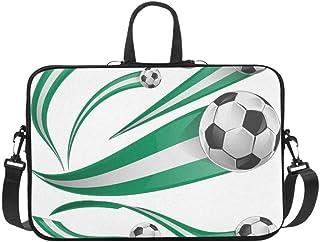 Nigeria Flag Set Soccer Ball Isolatet Briefcase Laptop Bag Messenger Shoulder Work Bag Crossbody Handbag for Business Travelling
