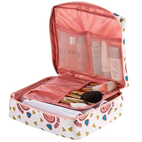Yiwuhu Organisateur de Sac de Maquillage cosmétique imprimé Floral Organisateur de Toilette de Voyage - 5 Compartiments Portable (Couleur : Rose)