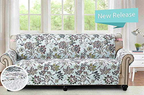 Brilliant Sunshine Vintage Green Beautiful Flower, Reversible X-Large Oversized Sofa Protector for Seat Width up to 78', Furniture Slipcover, 2' Strap, Couch Slip Cover for Pets, Sofa, Green
