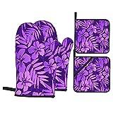 Juego de 4 Guantes de Horno y agarraderas,Patrón de Trama Transparente de Flores Tropicales de Colores violetas,Utilizado para cocinar,Hornear y Asar a la Parrilla