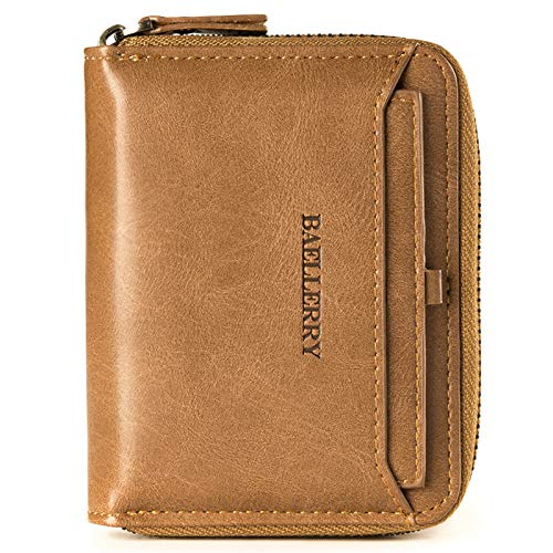 Men Multifunctional Wallets Short Purse Clutch PU Leather Zipper Solid Credit Card Cover Holder Vintage Organizer