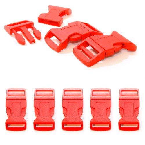 """Fermoir à clip en plastique, idéal pour les paracordes (bracelet, collier pour chien, etc), boucle, attache à clipser, grandeur: XL, 1"""", 65mm x 32mm, couleur: rouge, de la marque Ganzoo - lot de 5 fermoirs"""