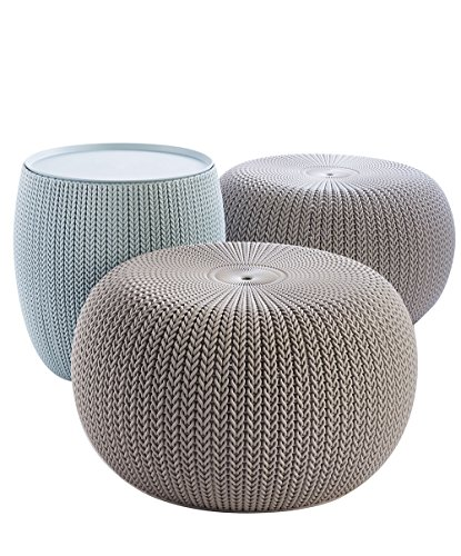 Keter Urban Knit Pouf Ottoman Set of 2 with Storage Table