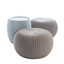 Keter Urban Knit Pouf Ottoman Set of 2 with Storage Table for Patio and Room Décor-Perfect for Balcony, Deck, and Outdoor Seating, Dune/Misty Blue