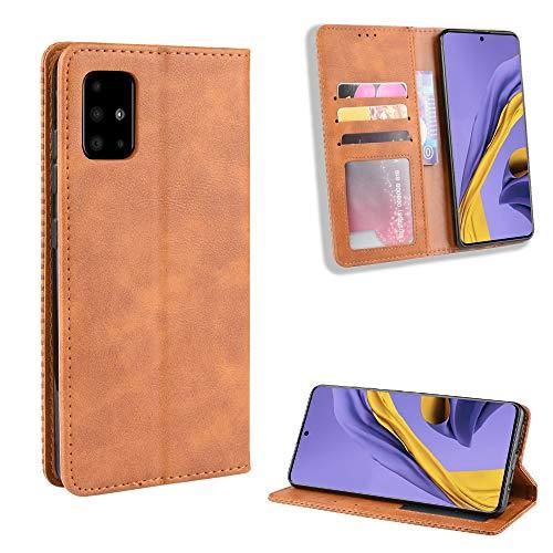LODROC Galaxy A51 Hülle, TPU Lederhülle Magnetische Schutzhülle [Kartenfach] [Standfunktion], Stoßfeste Tasche Kompatibel für Samsung Galaxy A51 - LOBYU0100148 Braun