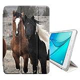 FJCases Braun Pferd Hengst Tier Smart Cover Tablet-Schutzhülle Hülle Tasche + Auto aufwachen/Schlaf Funktion für Samsung Galaxy Tab E - 9.6