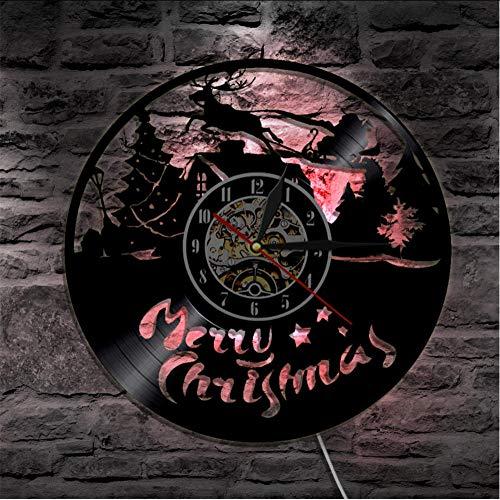 Mubgo wandklokken 1 stuk Vrolijk Kerstmis geluidsplaat wandklok met LED-achtergrondverlichting rendier Kerstman op slee silhouet wandlamp Verlicht.