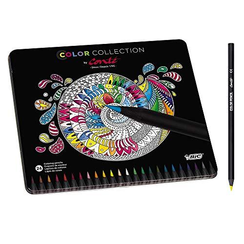 Conté Buntstifte Set, Limited Edition, 24 Stifte in kräftigen Farben, Hochwertige Farbstifte für Mandalas und mehr