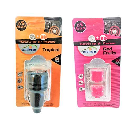 AMBICAR - Ambientador eléctrico para COCHE. Pack Nº3 (DIFUSOR + RECAMBIOS Tropical y Frutos Rojos) Esencias Naturales, SIN Alcohol ni Químicos. Fragancia frutal y aroma de fresa