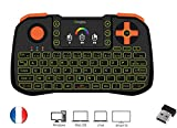 Ovegna Z10: Mini teclado 4 en 1 (ratón, teclado, mando a distancia y maneto), AZERTY, 2,4 GHz inalámbrico con Touchpad, para Smart TV, Mac, PC, Mini PC, Raspberry PI 2/3, consolas y Android Box