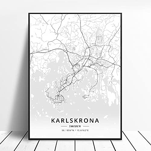 Akersberga Kasrlskrona Upplands Vasby Sklleftea Vaxjo Umea Canvas Art Map Poster ?ZQ-393? Ingen ram poster 40x50cm