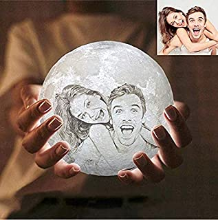 Haoun Customized 3D Printed Moon Lamp with Picture,Personalized Gift with Your Own Picture & Text,5.90 Inch 16 Colors Moon Lamp with Stand & Remote & Touch Control and USB Rechargeable