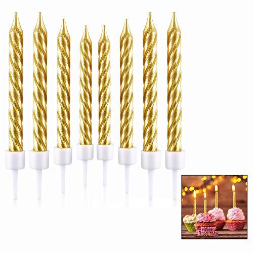LHKJ 50 Metallisch Kuchen Kerzen Geburtstagskerzen Metallisch Geburtstagskerzen für Hochzeitstage Kerzen Cupcake Kerzen-Gold