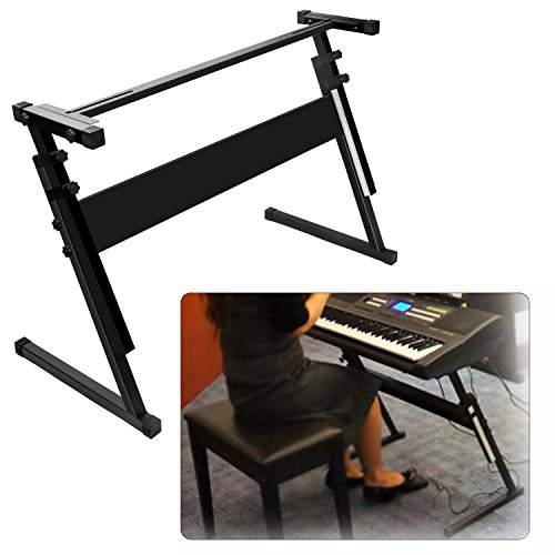 Luvay Keyboard Stand for 61 or 54 keys, Z-Style, Height Adjustable, Light Weight (1-inch steel)