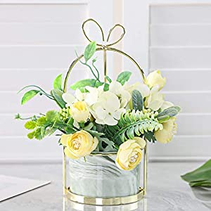 Veryhome Artificial Flowers Hydrangea with Ceramic Vase Silk Chrysanthemum Mini Potted Fake Flowers Hanging Potted Plants for Wedding Home Office Decoration Pack of One(Yellow-Marble Pot)