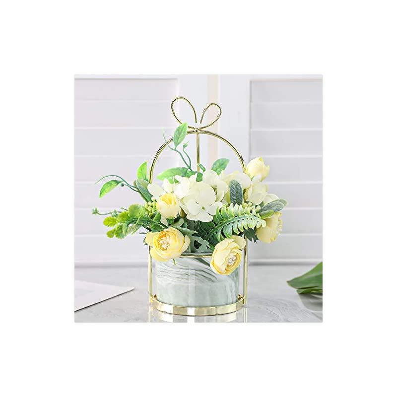 silk flower arrangements veryhome artificial flowers hydrangea with ceramic vase silk chrysanthemum mini potted fake flowers hanging potted plants for wedding home office decoration pack of one(yellow-marble pot)