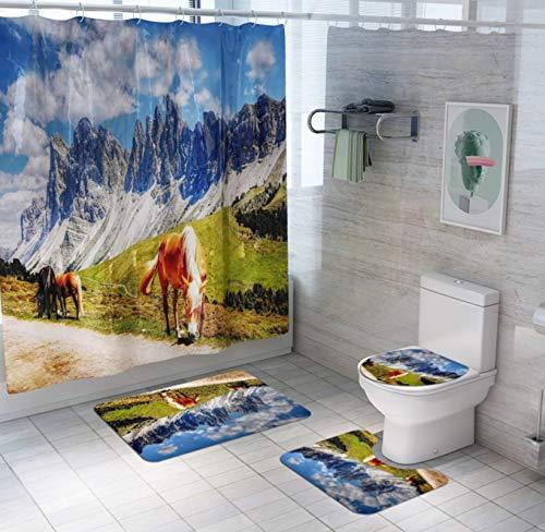JZZCIDGa Bergpferd Badematte Set 4-Teilige Badematte U-Förmige Konturmatte Duschvorhang Toilettensitzbezug Badematte Anti Slip