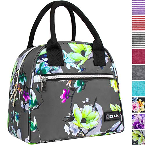 OPUX Lunch Bag for Women | Insulated Lunch Tote for Ladies, Girls, Female | Medium Reusable Soft Lunch Box Purse Cooler for School, Work, Office | Fits 12 Cans (Floral Grey)