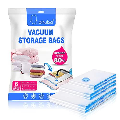 ohuba Vakuumbeutel, 6er Set Aufbewahrungsbeutel Reise Vakuum Wiederverwendbar Kleiderbeutel für Kleidung Bettdecken Bettwäsche Kissen Wolldecken Vorhänge Handtücher und vieles mehr