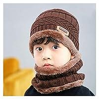 親子の冬のニット帽子厚くて暖かい男性女性秋のビーニー帽子子供ウールスキーの帽子ビーチバラクラバゴラス 誰がすべてを持っているクールプレゼントティーン (Color : Brown, Size : Adlit size 55 60cm)