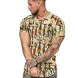 Mens African Shirt Tribal Dashiki Floral T-Shirt Short Sleeve Summer O Neck Tee Slim Fit Casual Tops Beige